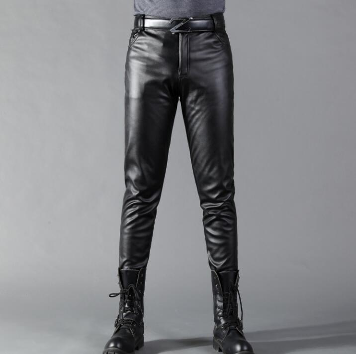 Hot tide black leather pants Men Korean Skinny Slim Leather Pants New PU pencil Casual Male Trousers
