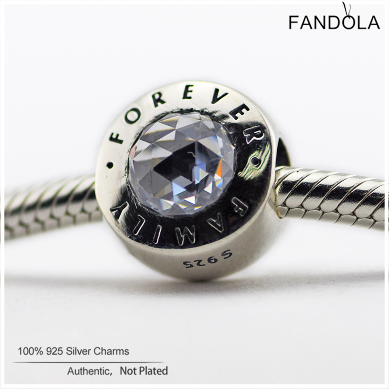 100% Authentic 925 Sterling Silver Family Forever Crystal Charms Beads DIY Jewelry Making Fits Pandora Charm Bracelets Berloque