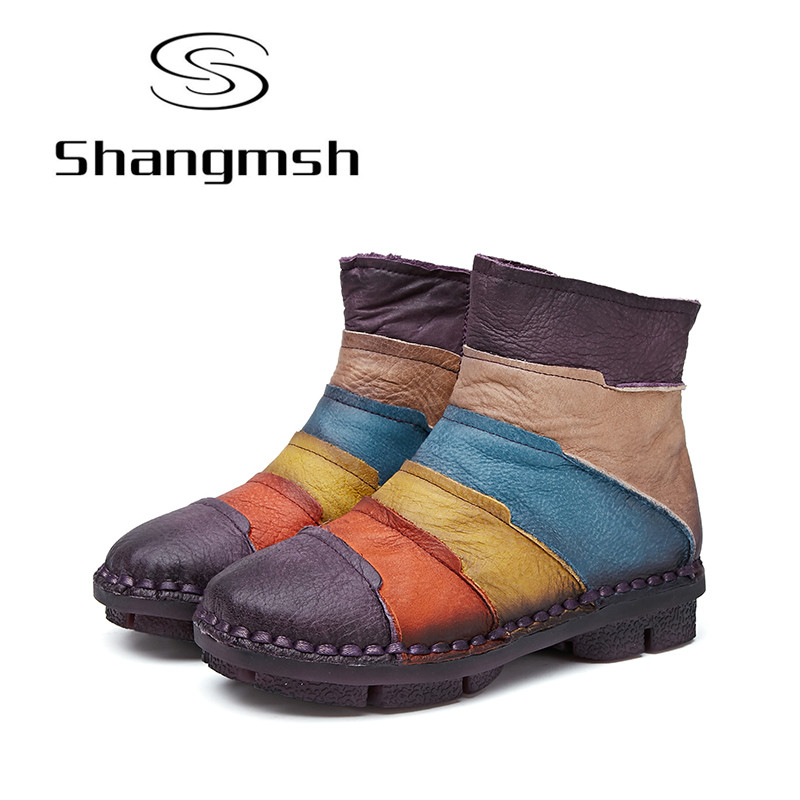 Shangmsh women boots 2017 Leather Winter Boots Handmade Mixed Colors Woman Shoes Casual Full Grain Leather Ankle Boots For Women shangmsh brand women s winter boots 2017 retro handmade genuine leather ankle boots soft casual ladies autumn shoes