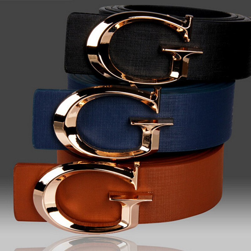 Free Shipping 2018 New Designer gg Brands Belt Fashion Male Black White Golden Buckle Jeans Belts For Men and Women Gifts
