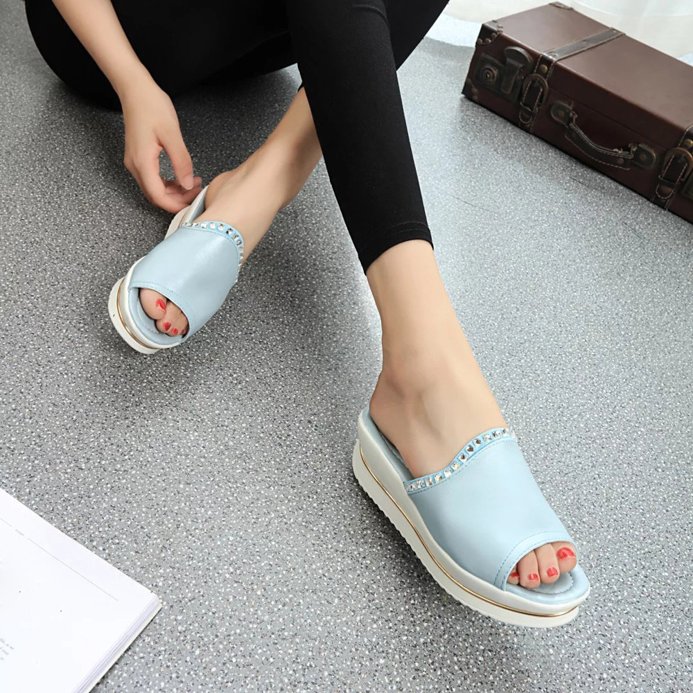 Summer Comfort Sandals Slippers Women Platform Sandals Shoes Wedges Shoes platform shoes with comfort in Korea sandalias mujer phyanic 2017 gladiator sandals gold silver shoes woman summer platform wedges glitters creepers casual women shoes phy3323