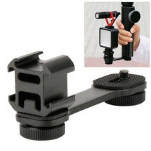 Triple Cold Shoe Microphone Mount , 1/4 Adapter Video Light Microphone Mount Compatible for Smooth Gimbal Stabilizer hot cold shoe mount holder adapter 1 4 thread photo studio kit for camera cage video light microphone monitor c1367