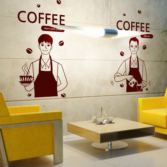 Coffee shop vinyl wall decal man coffee maker coffee sign for Mural coffee shop