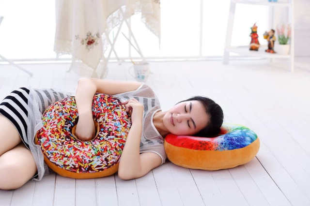 Soft 3D Large Round Donut Cushion Pillow Multi Purpose Nap Cute Pillow  Chocolate Thicken Seat