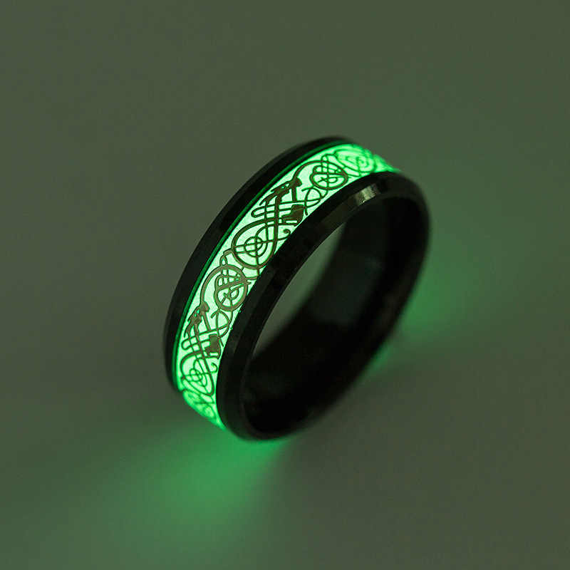 Luminous Cincin Naga Pola Stainless Steel Cincin Grosir