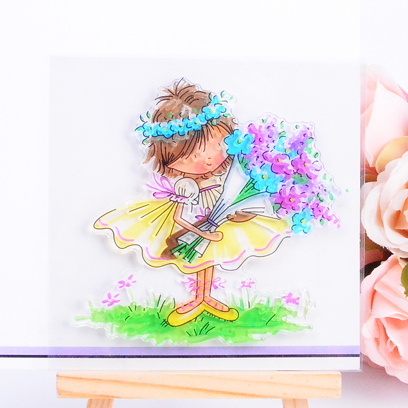 DECORA 1PCS Gift Little Girl Design Silicone Transparent Clear Stamp DIY Scrapbooking Stamping Christmas Decoration Supplies