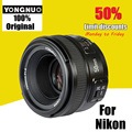 Yongnuo yn 50mm f/1.8 lente af enfoque automático de gran apertura yn50mm apertura para nikon dslr cámara como af-s 50mm 1.8g