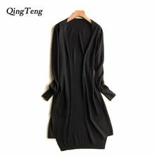 Long Cardigan With Pockets Knitted Spring Summer Fashion New 2018 Korean Style Cashmere Women's Clothing Black Blue Design