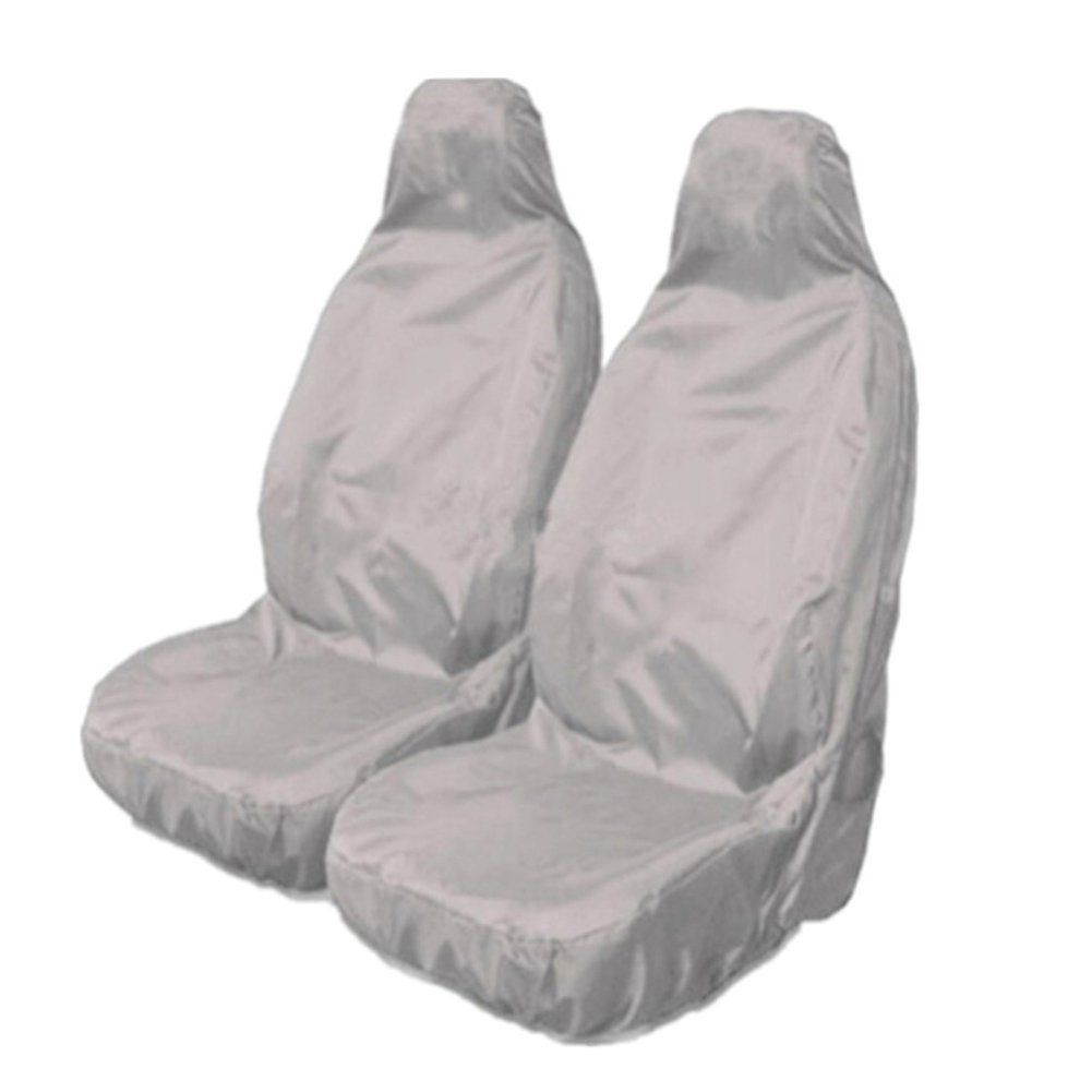 2pcs Universal Car Nylon Heavy Duty Waterproof Grey Front Seat Covers Protectors
