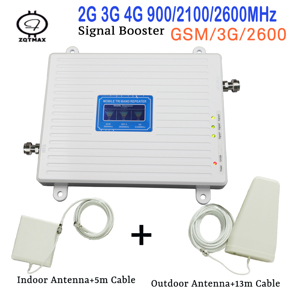 New Tri Band Cellular Amplifier 2G GSM 900mhz Signal Repeater 65dB 3G WCDMA 2100mhz 4G LTE 2600mhz Moblie Booster Antenna Set