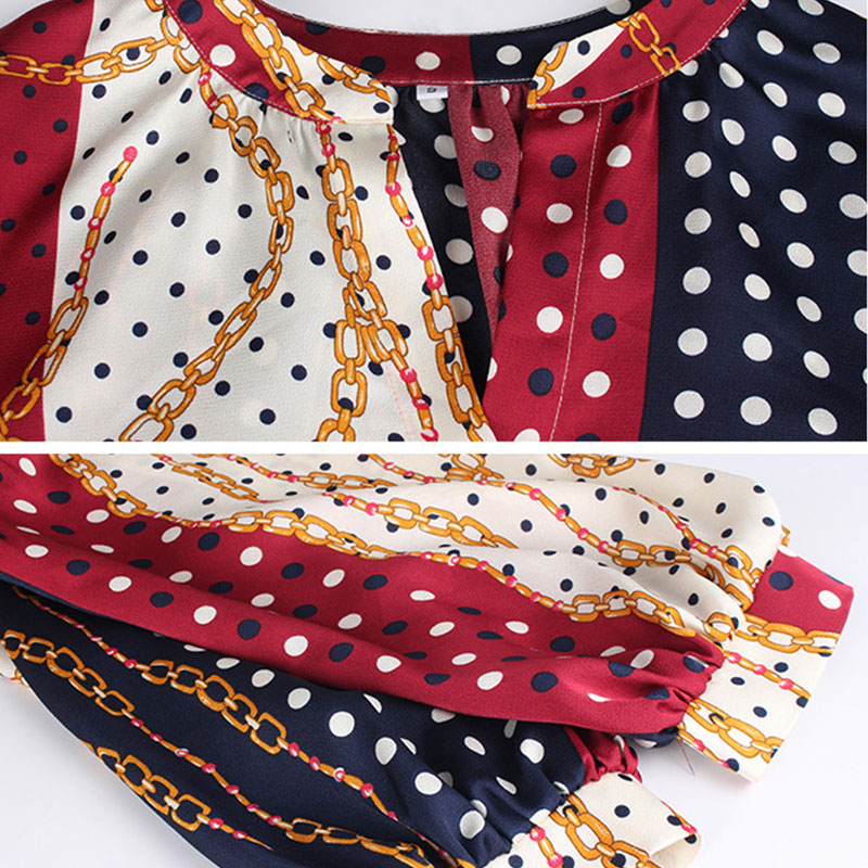 V Camisa Cuello Cárdigan Manga Single Picture La Sedoso Cuartos Camiseta Bohemia Suelto Calle Empalme As En Tops Mujeres Dot breasted Señoras De Tres FSFrw5p0q