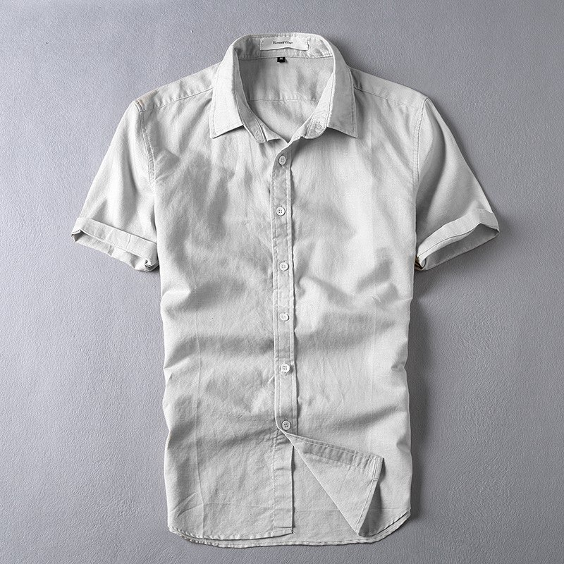 Pure White Mens Casual Linen Shirt Short Sleeve Turn down Collar Solid Color Clothing Breathable Shirts Hemp Clothes 6011