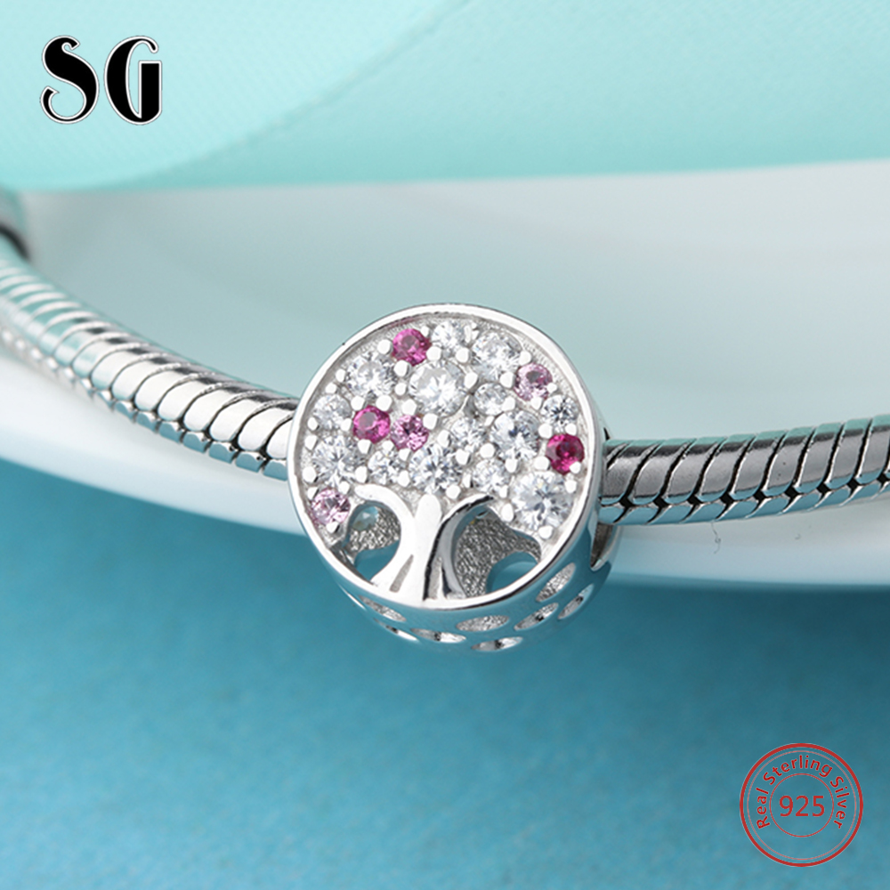 925 Sterling Silver Tree of Life Cubic Zirconia Bead Girl Fit Authentic Pandora Charms Bracelet Beads For Women Fashion Jewelry