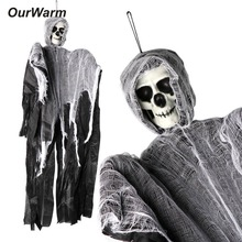 OurWarm 90cm*60cm Creepy Skeleton Face Hanging Ghost Halloween Decoration Horror Haunted House Props Supplies