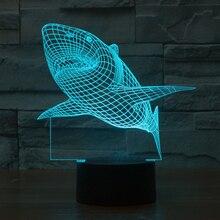 Акула USB сенсорный Ночные Огни 3d настольные Лампы 7 цвет изменение СВЕТОДИОДНЫЕ настольные Свет спальня фойе декор индивидуальные Подарочные