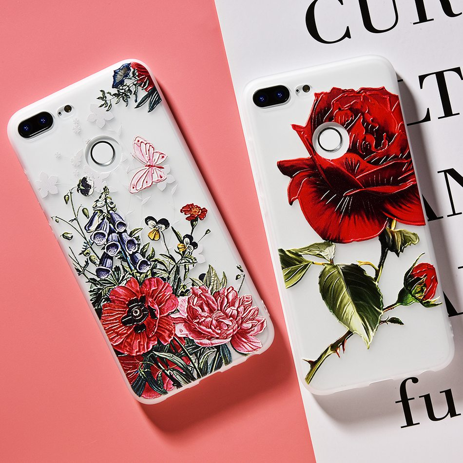 3D Relief Flower TPU Case For On Honor 9 9 lite Soft Silicone Case Back Cover Case for Huawei P20 P10 lite NOVA 2 Case           (9)