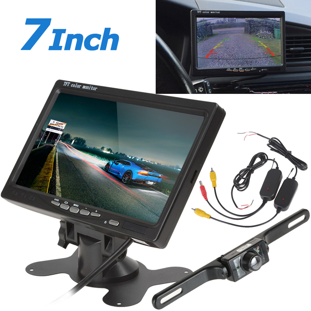 7 Inch TFT LCD Car Rear View Monitor Parking 2 Video Input + 420TVL CMOS Wireless Car Rearview Reverse Camera