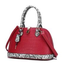 Stitching contrast color crocodile pattern fashion trend solid ladies handbag large capacity woman shoulder bag PU leather