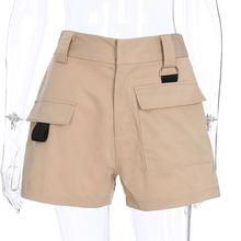 Weekeep Woman High Waist Shorts Summer Casual Zipper Fly Pocket Shorts Women's Cotton Solid Loose Short Feminino Straight Shorts