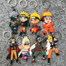 2019 New popFashion jewelry Anime Naruto Keychain Naruto Bag Pendant Kakashi PVC Soft Sasuke Key Ring(China)