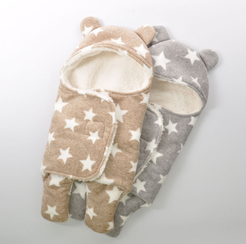Newborn-Sleepsacks-Winter-for-Stroller-Heavy-Baby-Swaddle-Blanket-With-Star-White-Fleece-Baby-Sleeping-Bag-Bedding-Accessories-1