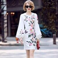 European Spring Designer Runway Dresses 2018 Women Luxury Sequined Beading Diamonds Lantern Sleeve Mini Dress White Floral Dress