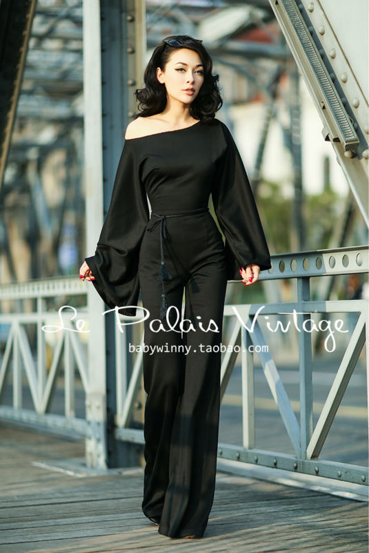Le Palais Vintage Elegant Retro Utility Significantly Thinner Exaggerated Long Sleeves Siamese Trousers High quality Jumpsuit