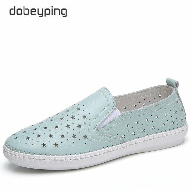 Dobeyping 2018 nuevo verano Zapatos mujer real cuero de vaca pisos mujeres Zapatos deslizamiento en mujer Mocasines sólidas de corte outs zapato femenino
