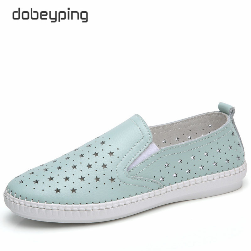 dobeyping 2018 New Summer Shoes Woman Real Cow Leather Flats Women Shoes Slip On Women's Loafers Solid Cut-Outs Female Shoe