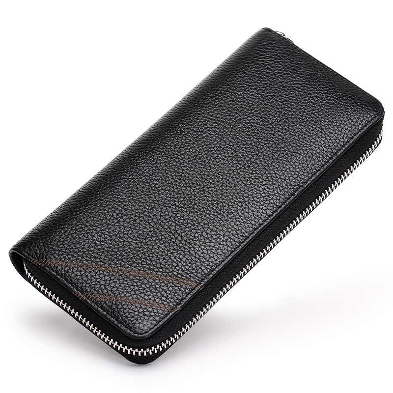 Fashion Genuine Leather Mens Wallet Zipper Large Capacity Men Purse Soft Cow Leather Simple Design Wallet Man 12 Card Holder