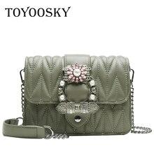 TOYOOSKY Fashion Female Diamond Messenger Bag 2019 New Womens Designer Handbag Luxury PU Leather Women Chain Shoulder