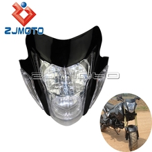ZJMOTO Universal Black Supermoto Headlight Head lamp Street Fighter Conversion For Kawasaki Ninja ZX6R ZX ZXR Z