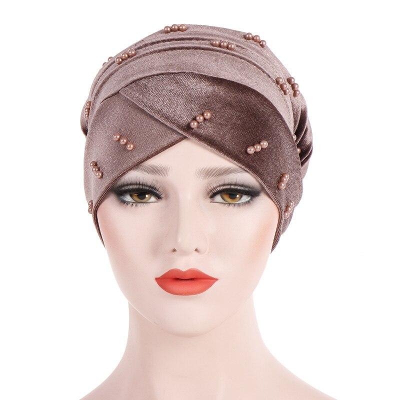 New Fashion Women Autumn Winter Muslim Beading Pearl Ruffle Hat Beanie Scarf Turban Head Wrap Cap  #4F09 (17)