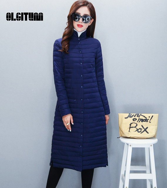 2016 winter Women Coat Slim Down coat female Knee long section women's singles breasted collar thin fashion long section Jacket