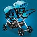 Os gêmeos carrinho de bebê antes e depois do carrinho de bebê carrinho de criança dobro da paisagem pode se sentar