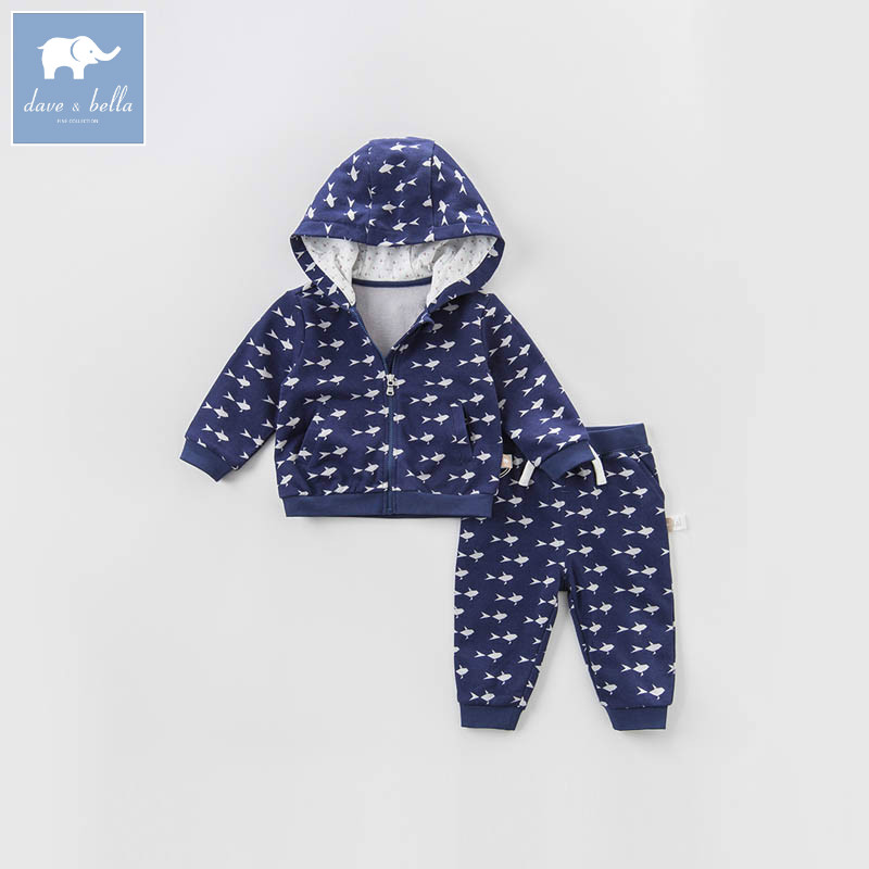 DBF6804 dave bella spring baby unisex clothing sets children long sleeve suit girls high quality toddler boys outfits shein kiddie toddler boys letter print drawstring dip hem hoodie and pants sets clothing 2019 spring long sleeve casual suit