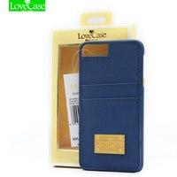 LIEBE FALL Neue luxus metall logo dual einbauschlitz telefon zurück abdeckung brieftasche für iPhone 7 7 plus 4,7 & 5,5 fall mit geschenk-box