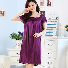 Pretty ya summer temptation lace side ladies cute short-sleeved ice silk sexy skirt nightdress home service