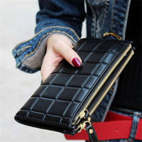 New Brand Candy Colors Purse Plaid Zipper Wallet Leather Carteira Couro Cards Holder For Girls Women
