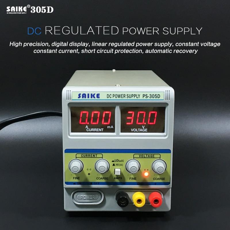 SAIKE 305D 30 в 5A 220 В DC Регулируемый источник питания лабораторный Регулируемый регулятор напряжения Регулируемый источник питания