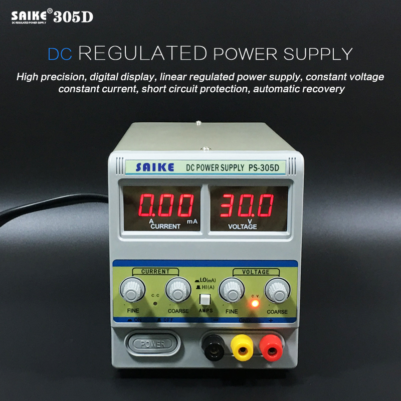 SAIKE 305D 30V 5A 220V DC regulated power supply Adjustable Voltage regulator Regulated power supply rxn 305d ii 0 30v 0 5a two circuit output cocurrent voltage stabilized source fixed output 5v 3a adjustable dc power supply