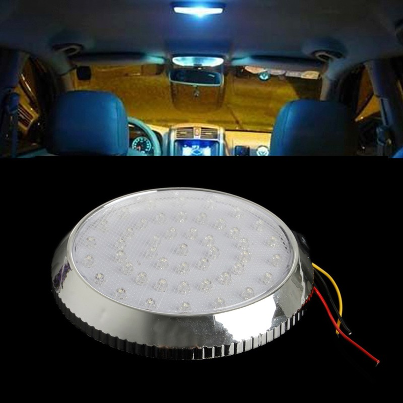 Auto Reading Lamp Car Interior Light Bulbs <font><b>LED</b></font> Car Vehicle 12V 46-<font><b>LED</b></font> Indoor Roof Ceiling Dome Light White Lamp Lighting & Lamps image
