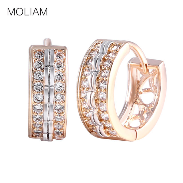 MOLIAM Fashion Jewellery Huggie Earing for Women White Cubic Zirconia Hoop Earings Design Wedding Earring Brinco Bijoux MLE151