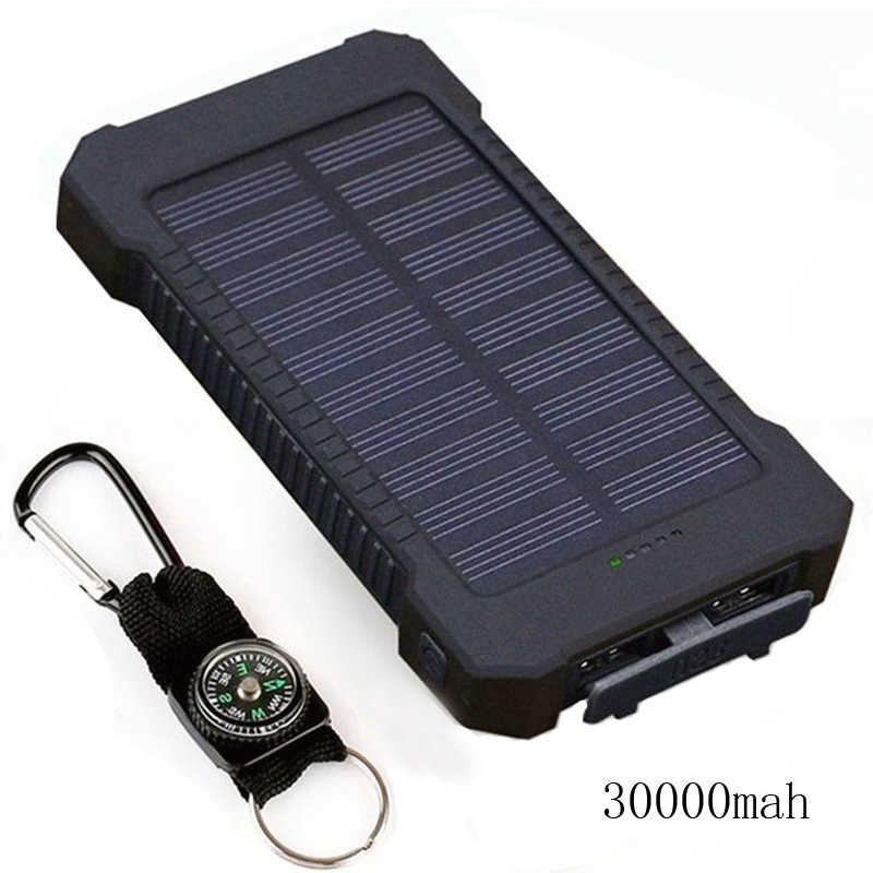 Solar Power Bank Waterproof 30000mAh Solar Charger 2 USB Ports External Charger Powerbank for Xiaomi Smartphone with LED Light