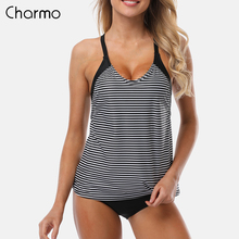 купить Charmo Women Two Piece Swimsuit Hollow Tankini Set Striped Swimwear Halter Swimsuit Padded Bandage Bathing Suit Beachwear Bikini недорого