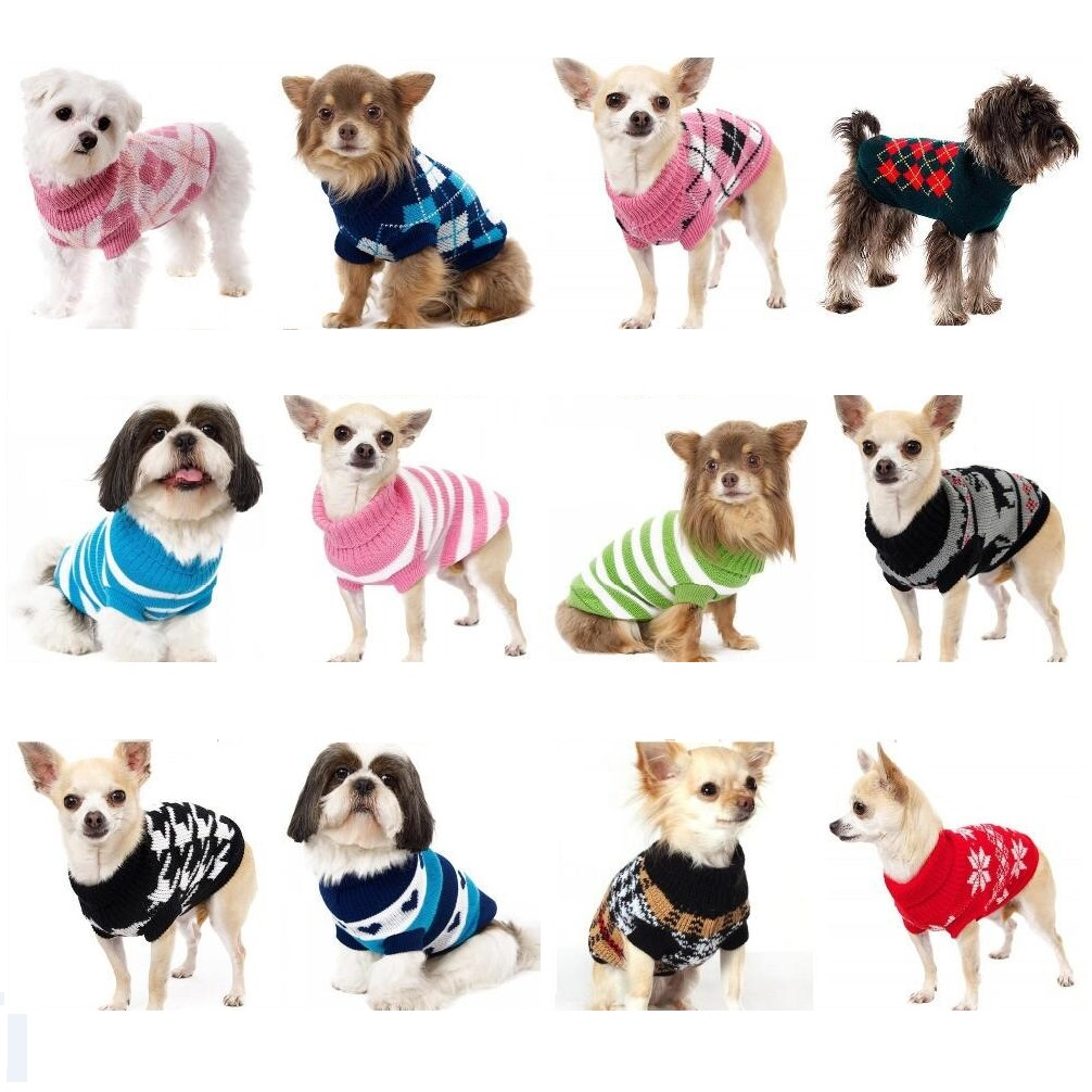 SZ XS-XXL Ελεύθερο Φθινόπωρο Φθινοπωρινό Χειμώνας Διάφορα Υπέροχο κουτάβι Κατοικίδιο σκύλος Πουλόβερ σκύλου Πλεκτό παλτό Ενδυμασία Ρούχα για μικρό κουτάβι σκύλου