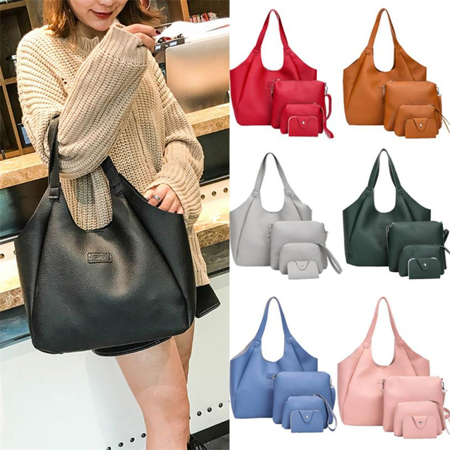 women's Multi-function Four Set Handbag Shoulder Tote bags Crossbody Wallet female  leather                             O0807#30