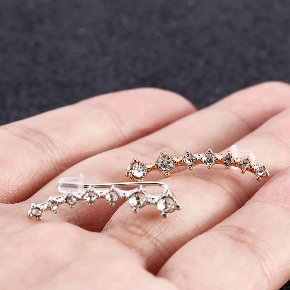 Rhinestone Ear Hook Stud Earrings Big Dipper Four-Prong Setting Seven Rhinestones Earrings Fashion Jewelry Crystal Earrings