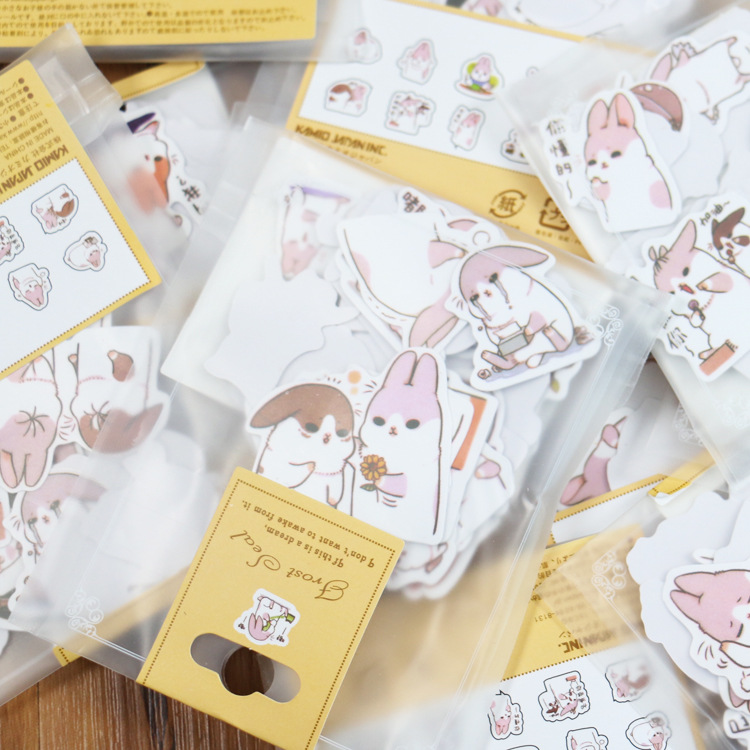 40pcs/set Cute Diary Stationery Stickers Pack Chubby Rabbit Series Scrapbooking Sticky Escolar School Supplies