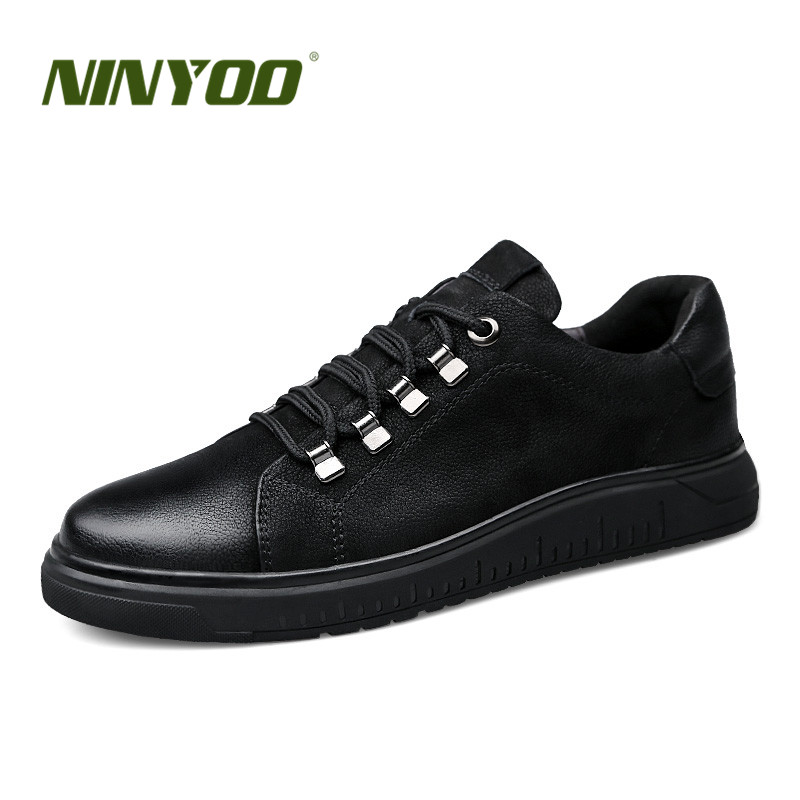 NINYOO Men Elevator Shoes Genuine Leather Casual Sneakers Flat Height Increasing 6cm Students Shoes Zapatos Hombre Plus Size 47
